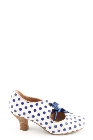 Laura Vita Mary Jane pumps wit-blauw gestippeld patroon elegant