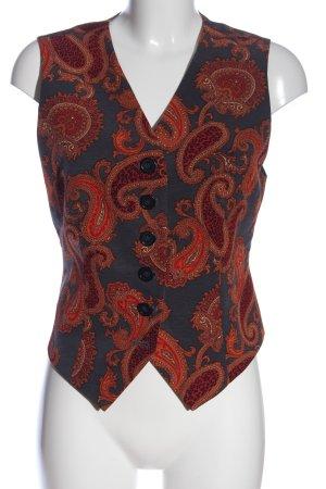 Laurèl Gilet de costume bleu-rouge imprimé allover style décontracté