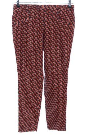 Laurèl Pantalone Capri nero-rosso stampa integrale stile casual
