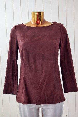 LAUREL Damen Bluse Oberteil Leder Braun Rot Lammleder U-Ausschnitt 3/4-Arm Gr.36