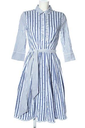 Laurèl Hemdblusenkleid weiß-blau abstraktes Muster Casual-Look