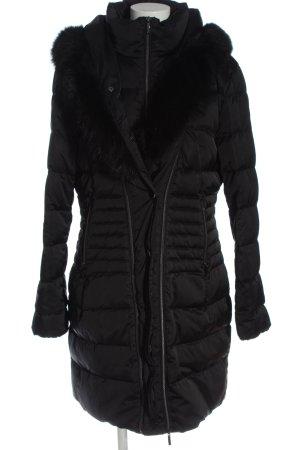 Laurèl Capuchon jas zwart quilten patroon casual uitstraling