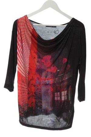 Laurèl Camicetta a maniche lunghe nero-rosso Stampa a tema stile casual