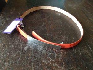 Boucle de ceinture orange-argenté