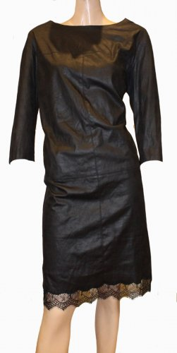 LAUREL Lederkleid Spitzenkleid schwarz Kleid Gr. 42