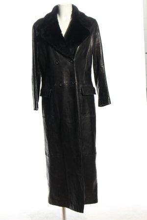 Laurèl Manteau en cuir noir style décontracté