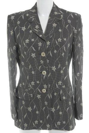 Laurèl Long-Blazer schwarz-hellbeige florales Muster Business-Look