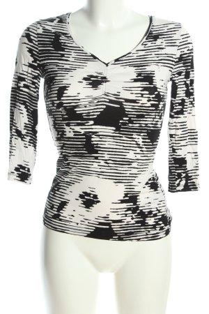 Laurèl Longsleeve weiß-schwarz abstraktes Muster Casual-Look