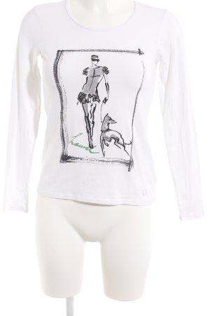 Laurèl Longsleeve weiß-schwarz Motivdruck Casual-Look