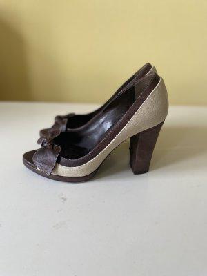 Laurèl Peep Toe Pumps cream-dark brown