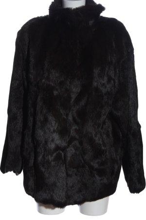 Laurèl Manteau de fourrure noir style décontracté