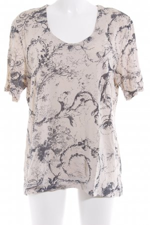 Laurèl Print-Shirt hellbeige-dunkelblau Blumenmuster Casual-Look