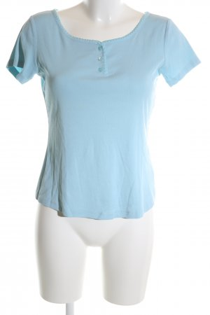Laurèl Camisa acanalada azul look casual
