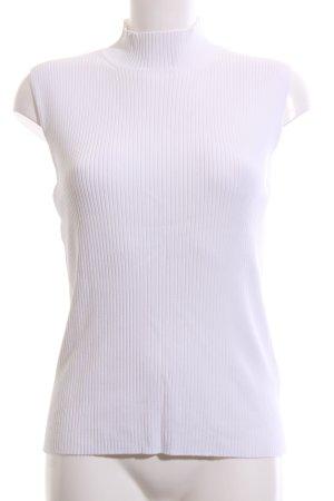 Laurèl Top de cuello de cisne blanco estampado a rayas estilo «business»