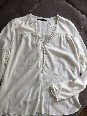 Laurèl Jedwabna bluzka w kolorze białej wełny-kremowy