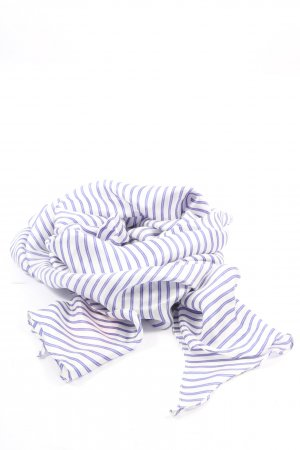Laurèl Bufanda de seda blanco-azul estampado repetido sobre toda la superficie