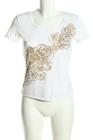 Laurèl T-Shirt weiß-braun Blumenmuster Casual-Look