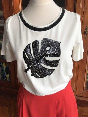 Laurel T-Shirt Pailletten weiß schwarz NEU Etikett Gr. 36/38