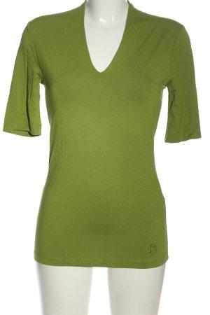 Laurèl V-Ausschnitt-Shirt grün meliert Casual-Look