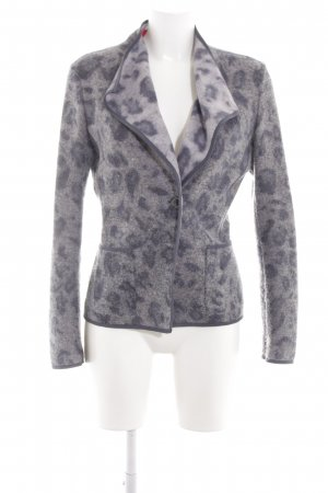 Laurèl Chaqueta de lana gris claro estampado repetido sobre toda la superficie