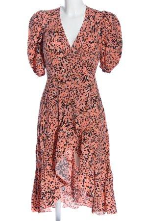 Laurella Robe bas asymétrique rose-noir imprimé allover style décontracté