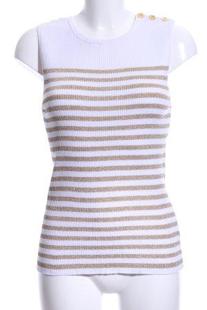 Lauren by Ralph Lauren Feinstrickpullunder weiß-goldfarben Streifenmuster