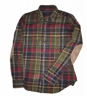 Lauren by Ralph Lauren Flannel Shirt bordeaux-green grey cotton