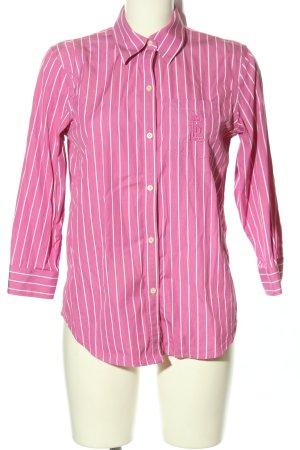 Lauren by Ralph Lauren Hemd-Bluse pink-weiß Streifenmuster Business-Look