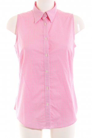 Lauren by Ralph Lauren Kurzarm-Bluse weiß-pink Karomuster Casual-Look