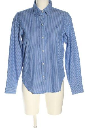 Lauren by Ralph Lauren Langarmhemd blau-weiß Schriftzug gestickt Business-Look