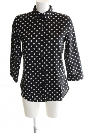 Lauren by Ralph Lauren Langarmhemd schwarz-weiß Punktemuster Business-Look