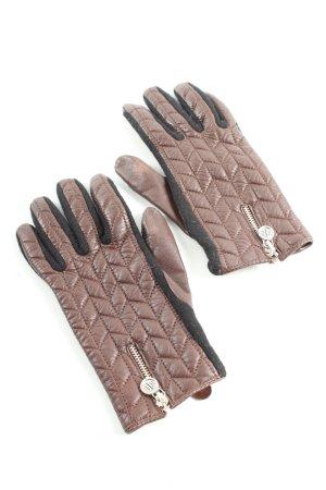 Lauren by Ralph Lauren Leather Gloves brown-black quilting pattern casual look