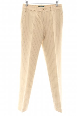 Lauren by Ralph Lauren Pantalón de lino crema estampado a rayas