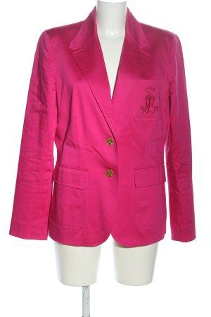 Lauren by Ralph Lauren Blazer largo rosa letras bordadas look casual
