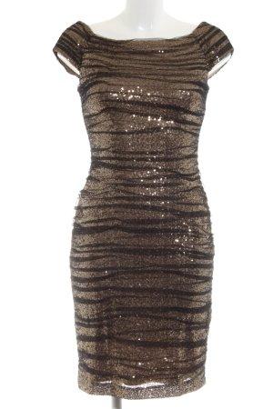 Lauren by Ralph Lauren Pailettenkleid braun-schwarz Streifenmuster Elegant