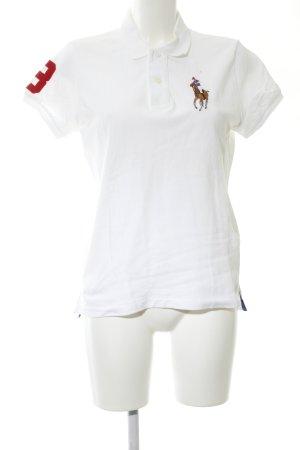 Lauren by Ralph Lauren Polo-Shirt weiß Motivdruck Casual-Look