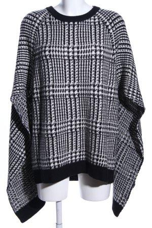 Lauren by Ralph Lauren Poncho noir-blanc motif à carreaux style décontracté