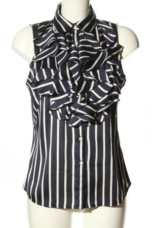 Lauren by Ralph Lauren Rüschen-Bluse schwarz-weiß Streifenmuster Casual-Look