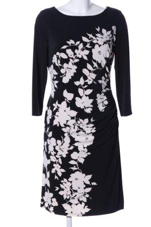 Lauren by Ralph Lauren Stretch jurk zwart-wit bloemenprint casual uitstraling