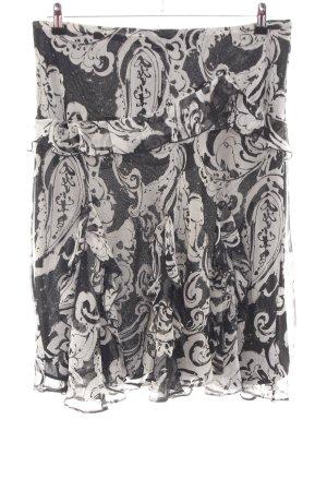 Lauren by Ralph Lauren Stufenrock schwarz-hellgrau abstraktes Muster Elegant