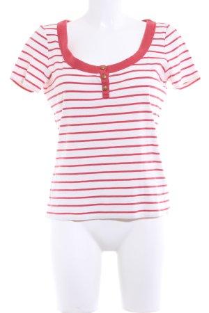 Lauren by Ralph Lauren T-Shirt wollweiß-rostrot Streifenmuster Casual-Look