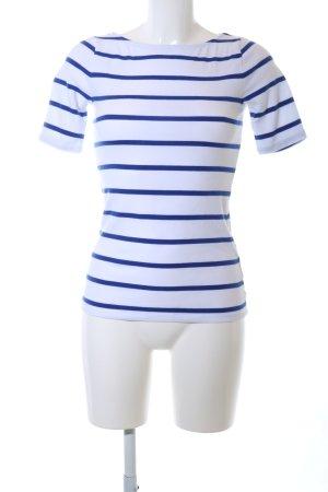 Lauren by Ralph Lauren Top à col bateau blanc-bleu motif rayé
