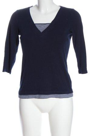 Lauren by Ralph Lauren V-Ausschnitt-Pullover blau Streifenmuster Casual-Look
