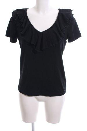 Lauren by Ralph Lauren V-Ausschnitt-Shirt schwarz Casual-Look