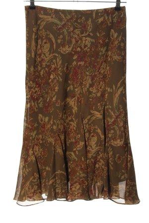 Lauren by Ralph Lauren Volantrock braun-rot abstraktes Muster Casual-Look