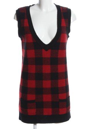 Lauren by Ralph Lauren Wollen jurk zwart-rood geruite print casual uitstraling