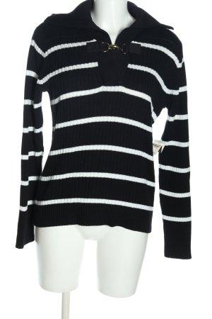Lauren by Ralph Lauren Wollpullover schwarz-weiß Streifenmuster Casual-Look