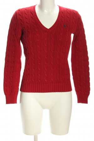 Lauren by Ralph Lauren Warkoczowy sweter czerwony Wyhaftowany logo