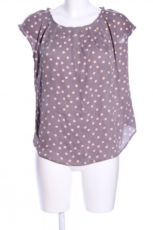 Lauren Conrad Kurzarm-Bluse lila-creme Punktemuster Casual-Look