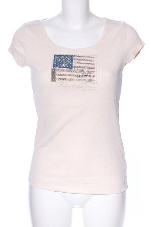 Lauren Jeans Co. Ralph Lauren Camisa acanalada blanco puro estampado temático